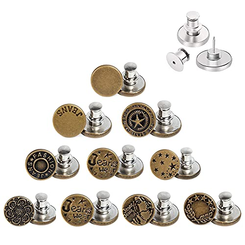 AXEN 10PCS Button Pins for Jeans, No sew Perfect Instant Fit Button, Simple Installation Instant Reduce or Extend Pants Waist, Style 2