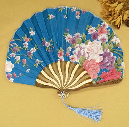 Blue Japanese Chinese Handmade Pocket Fan Flower Blossoms Cloth Folding Hand Fan Gifts For Women Girls by Hand Fan