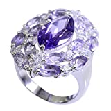 Gemsonclick Genuine Amethyst Ring Healing Silver Mixed Shape Cluster Style Handmade Size 5,6,7,8,9,10,11