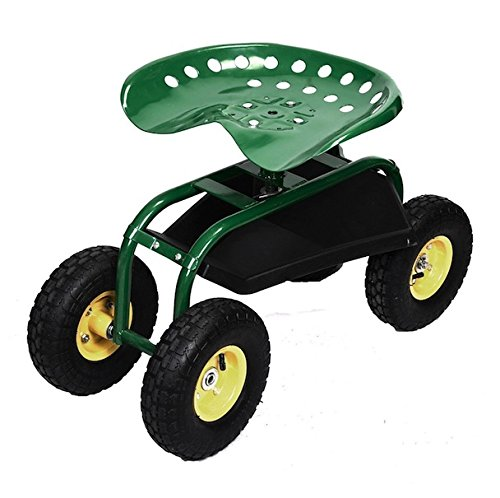 Green Rolling Garden Cart Adjustable Swivel Work Seat With Heavy Duty Tool Tray Gardening Planting Outdoor Patio Lawn Yard Utility Wagon Buggy Scooter Pneumatic Wheel (Deep Seated Outdoor Furniture Uk)
