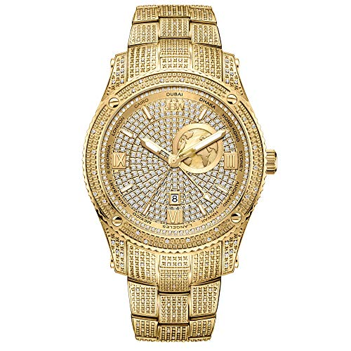 JBW Luxury Men's Jet Setter GMT J6370A 1.00 Karat Diamond Wrist Watch with Gold-Plated Stainless Steel Bracelet