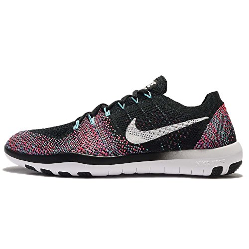 Nike Womens Free Focus Flyknit 2 Training Shoe, BLACK/WHITE-RACER PINK, 9 US