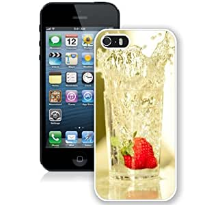 Fashionable Custom Designed iPhone 5S Phone Case With Strawberry Falling In Glass Of Water_White Phone Case