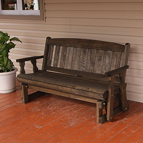 Cafe Amish Heavy Duty 800 Lb Mission Pressure Treated Porch Glider (4 Foot, Dark Walnut Stain) - Amish Bench