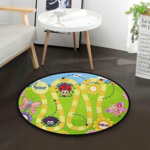 3' Round Template - Fun Insect Board Game Template Round Area Rug, Non-Slip Carpet Floor Mats for Indoor Outdoor Front Door Bathroom Home Decor, 3 Feet