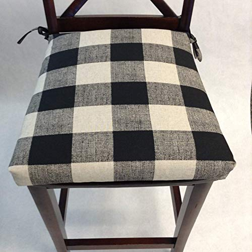 Buy black and white buffalo check chair cushions