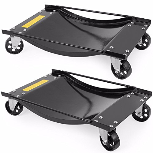 Moon Daughter 2PC of 1/2 Ton 1000 LB Rolling Vehicle Auto Car tire Dolly Wheels Garage 3
