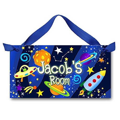(Toad and Lily Blast Off Boys Bedroom Outerspace Rocket Ship Personalized Name Door Sign Wall Art DS0015 )