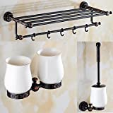 TY A Set of Three Products(Bathroom Shelf/Toilet Brush Holder/Toothbrush Holder) Of Oil Rubbed Bronze