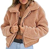 Franterd Women Coat Autumn Fuzzy Jacket Warm Artificial Wool Cardigan Open Front Full Zipper Overcoat Winter Parka Outerwear