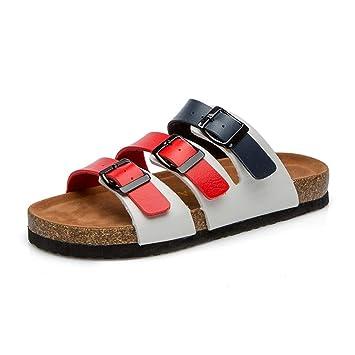 0c8d5c4da951de Image Unavailable. Image not available for. Color  Cork Sole Slippers for Women  Leather Open Toe Roman Sandals ...