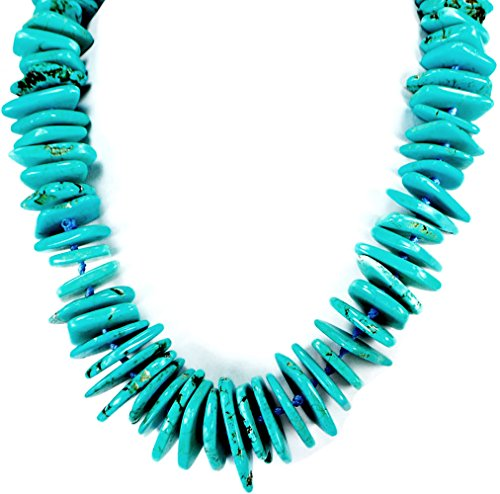 Blue Magnesite Turquoise Disc Beads Hand Knotted Silver Tone Necklace 24