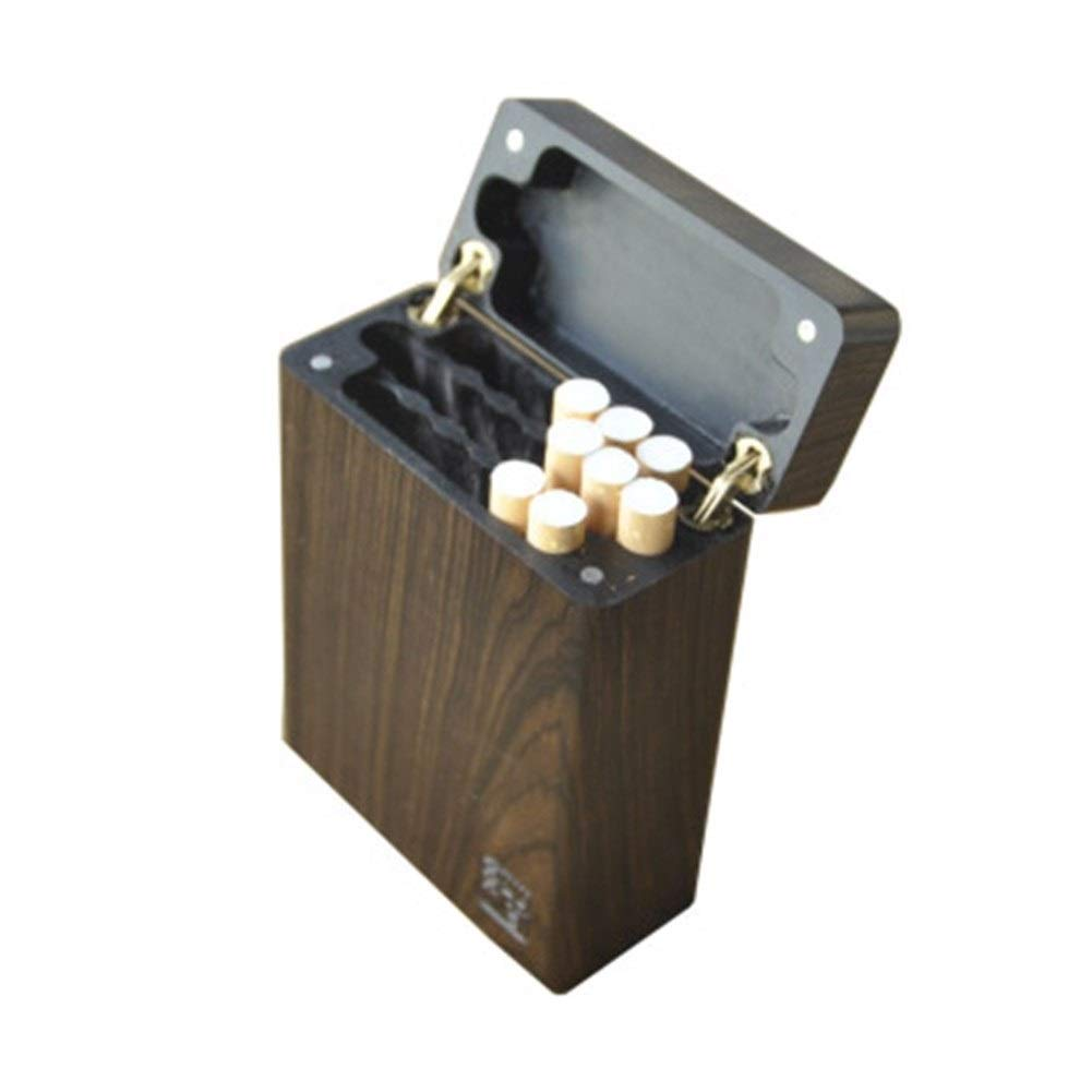 Flip Cigarette Case, 20 Sets of Ordinary Cigarettes, Perforated Row of Portable Ultra-Thin Solid Wood Whole Wood Hollow Large Cigarette Special Cigarette Case, Plain Noodles (Color : Natural)