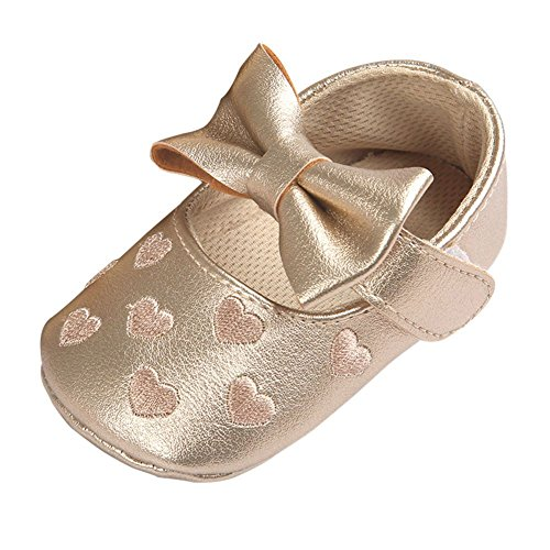Weixinbuy Toddler Girl Bow-Knot Heart Embroidered Soft Sole Anti-Slip Shoes Gold