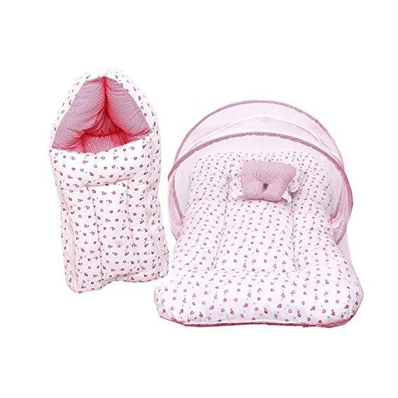 Fareto Baby Gift Pack Set Mattress with Net & Sleeping Bag(0-6 Months)(Pink H)