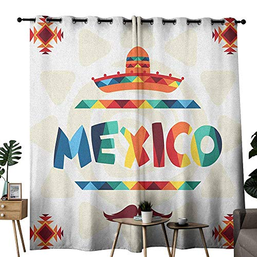duommhome Mexican Novel Curtains Mexico Traditional Aztec Motifs and Sombrero Straw Hat and Moustache Graphic Print for Living, Dining, Bedroom (Pair) W72 x L108 Multicolor