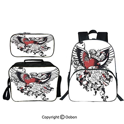 Oobon Kids Toddler School Waterproof 3D Cartoon Backpack, Tattoo Style Heart Crown with Wings Artictic Love Valentines Gothic Romance Graphic, with Lunch bag Pencil bag Three-piece ()