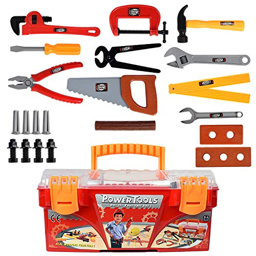 WolVol 26-Piece Tool Box Set with Removable Tool Tray - Great Gift Toy for ()