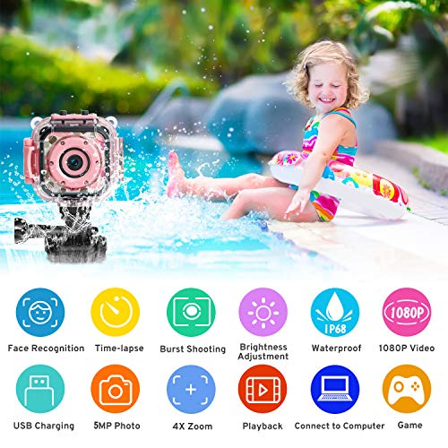 PROGRACE Children Kids Camera Waterproof Digital Video Camera HD Underwater Camera for Kids 1080P Camcorder DV Toddler…