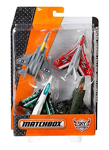 Matchbox Sky Busters 4-Pack Dog Fight Pack (Eurofighter Typhoon, Flight Strike, Boeing F-15 Eagle, Lockheed Martin F-35 B) (F15 E Strike Eagle)