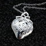 Unique Silver Cute Strawberry Women Jewellery Locket Pendant Chain Necklace 20