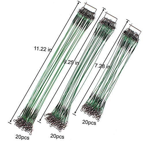 - Scotank 60pcs Fishing Leader Wire Tooth Proof 7 Strand Stainless Steel with Swivels Snap Kits Connect Tackle Lures Bait Rig or Hooks Three Size (Test 30 lb)