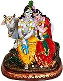 """Beautiful Divine Couple Radha Krishna Statue 6.5"""" Figurine Hindu God"""