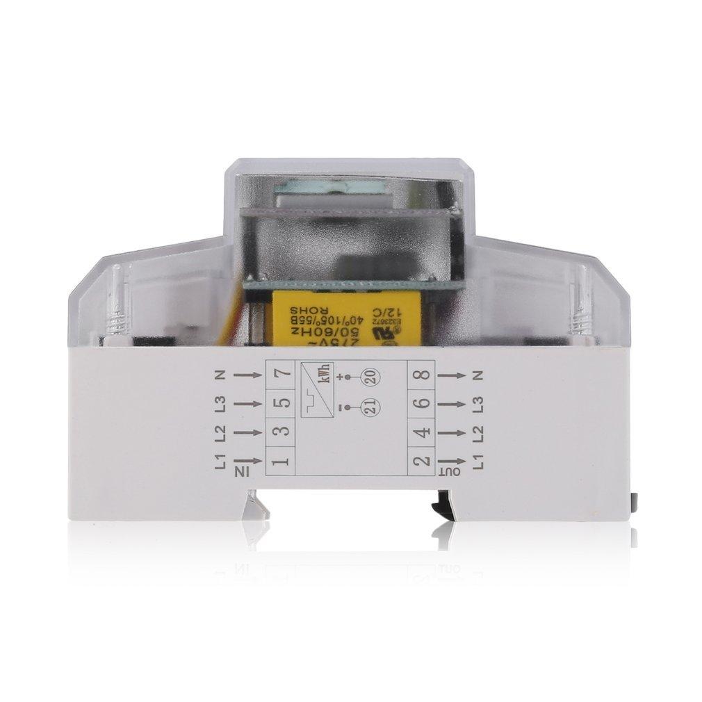 Sweepid Wechselstromz/ähler Drehstromz/ähler Stromz/ähler DIN 5 80 A 3x230//400V Hutschiene LCD