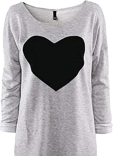 iAmotus Camiseta Mujer Manga Larga Impresa Gran Corazón Cuello Redondo Casual Algodón Camiseta: Amazon.es: Ropa y accesorios