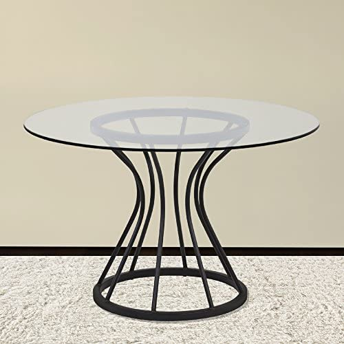 Armen Living Zurich Dining Table with Clear Glass and Black Metal Finish
