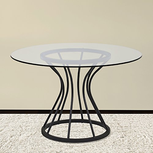 Armen Living LCZUDITOCLGL Zurich Dining Table with Clear Glass and Black Metal Finish