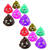 Kicko Emoticon Poop Squirt Toys - Pack of 12, 3' Assorted Rubber Water Squirties - Perfect Bath Toys, Summer Beach Toys, Educational Game Set, Party Favors and Supplies for Toddlers, Boys, and Girls