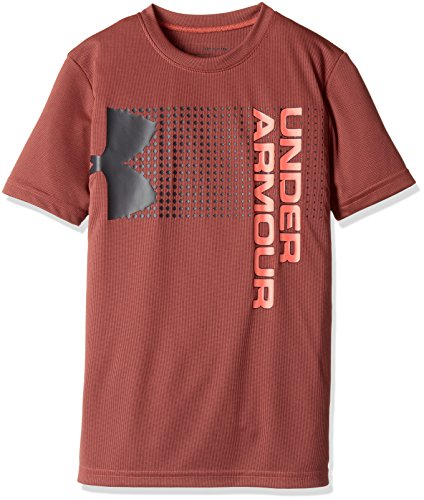 Neon Logo Heathered T-shirt - Under Armour Kids Boy's Crossfade Tee (Big Kids) Neon Coral/Stealth Gray/Neon Coral Large