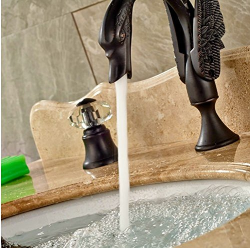 Gowe Three Crystal Handles Deck Mounted Oil Rubbed Bronze Basin Tap Vessel Sink Faucet Swivel Spout 4