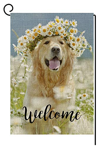 Welcome Dog Small Garden Flag Vertical Double Sided 12.5 x 18 Inch Daisy Wreath Summer Fall Burlap Yard Outdoor Decor
