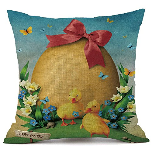 HYIRI Easter Sofa Bed Blue Sky Bunny Pattern Home Decoration Festival Pillow Case Cushion Cover ()