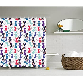 Ambesonne Cat Print Decor Shower Curtain Baby Animals In Colors With Flowers Pattern Polyester