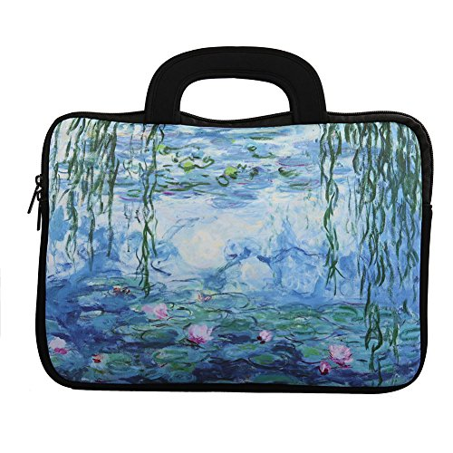 E - Living 7-8.4 Inch / 8.9-9 Inch / 10.1 Inch / 11.6-12.5 Inch / 13-13.3 Inch / 14-14.1 Inch / 15-15.6 Inch Neoprene Sleeve/Case / Bag/Cover with Handle (Water Lilies, 13-13.3 Inch)