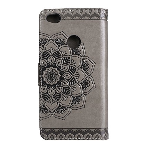 EUWLY Leather Case for Huawei P8 Lite 2017,Huawei P8 Lite 2017 Leather Wallet Case, Sunflower Embossed Ultra Slim Leather Case with Magnetic Closure And Lanyard Anti-scratch Anti-Shock Card Slots and Gray