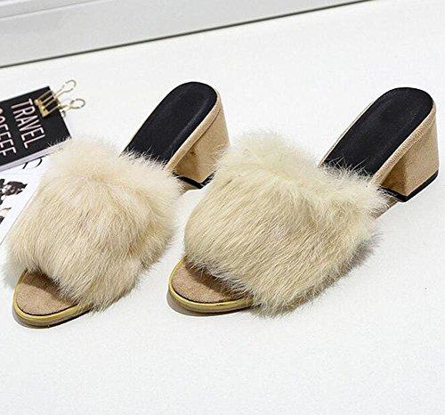 féminines talons mot pour peluche sandales 2 des un porter en KUKI avec épaisses à Pantoufles OfRwWn5