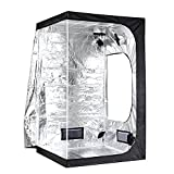 iPower 48''x48''x78'' 4'x4' Hydroponic Mylar Grow Tent Observation Window, Tool Bag Floor Tray Grow Light Indoor Plant Growing