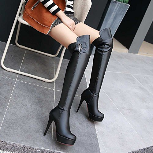 CHFSO Womens Sexy Stiletto Solid Round Toe Zipper High Heel Platform Above The Knee Boots Black MVKfERJ2