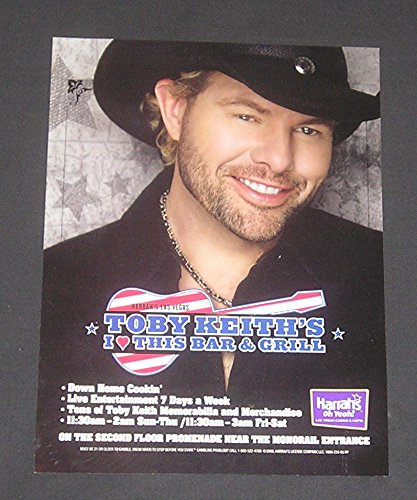 2008 PRINT AD Harrah's Casino, Las Vegas, Nevada, Toby Keith, I Love This Bar & Grill, Country Western Singer, Original Magazine Advertisement / Collectible Paper - Harrahs Casino Nevada