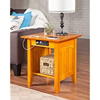 Atlantic Furniture Nantucket Charger Caramel Latte Wood End Table