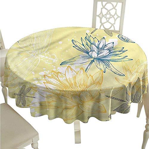 SKDSArts Wholesale tablecloths Dragonfly,Boho Style Plants Art D60,Round - Polyester Tablecloths Wholesale