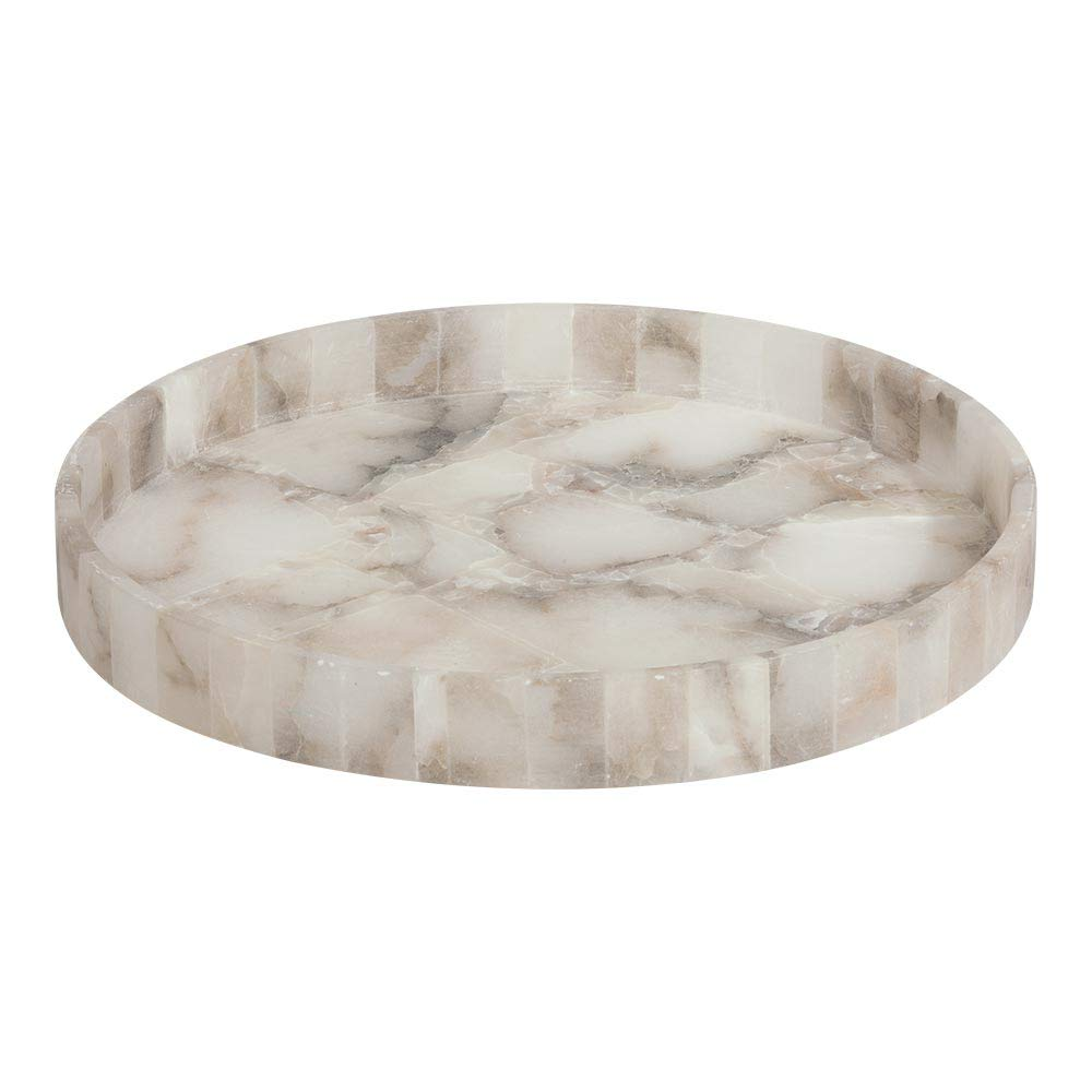 Ethan Allen Ranna Hand-Carved Alabaster Tray | White Decorative Stone Tray by Ethan Allen (Image #1)