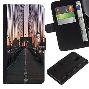 APlus Cases // Samsung Galaxy S5 Mini, SM-G800, NOT S5 REGULAR! // Brooklyn Puente Salida del sol Ciudad Vista // Cuero PU Delgado caso Billetera cubierta Shell Armor Funda Case Cover Wallet Credit Card