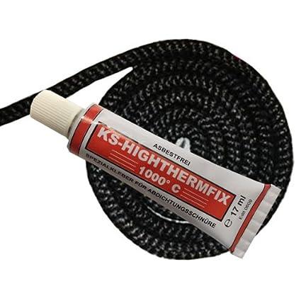 KS24 Cordón de junta para estufas, antracita, 10mm 2,0 Meter + 1x Kleber anthrazit: Amazon.es: Bricolaje y herramientas