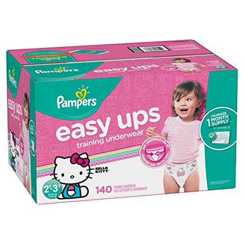 Pampers Easy Ups Training Pants Pull On Disposable Diapers for Girls, Size 4 (2T-3T), 140 Count, ONE MONTH SUPPLY