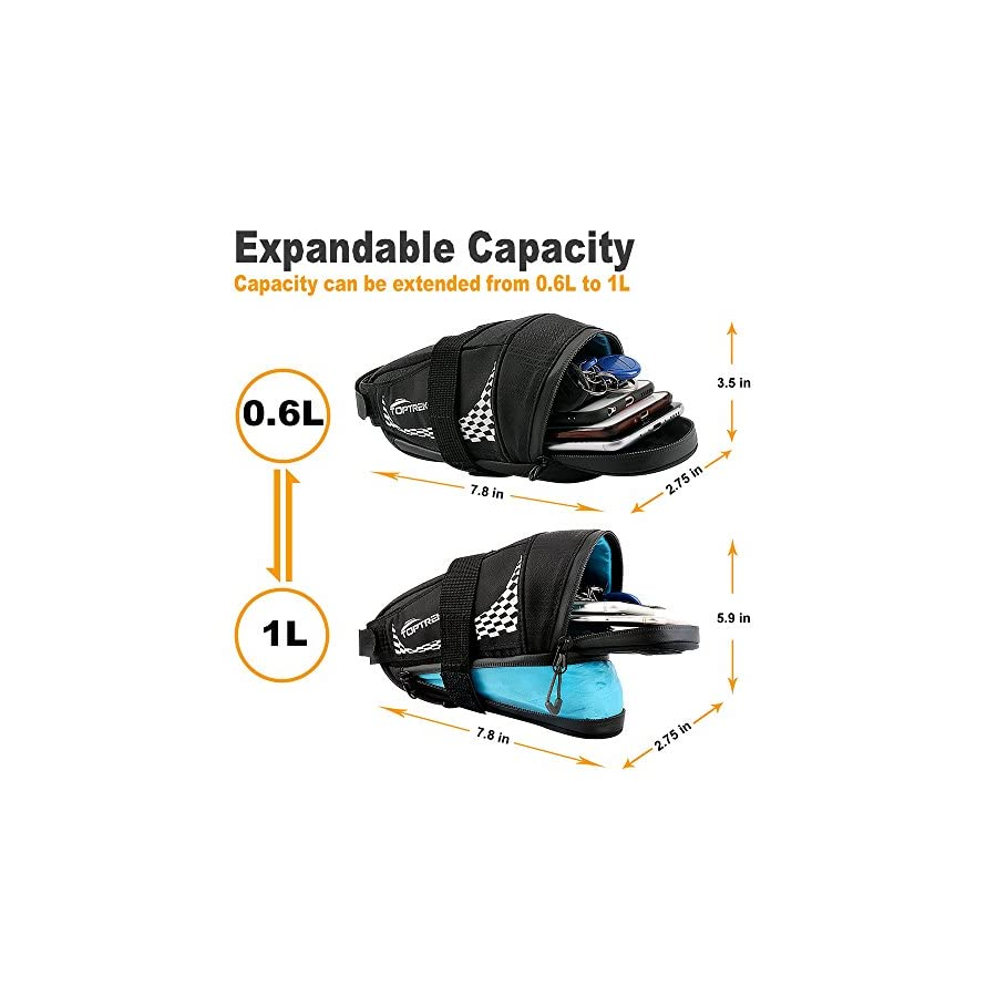 TOPTREK Bike Saddle Bag Outdoor Water Resistant Bike Bags under Seat with Expandable Capacity and Waterproof Zipper Bicycle Seat Bag for Foldable/Road/Mountain Bike